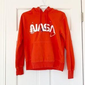 H&M hoodie size small orange NASA cotton LOGG